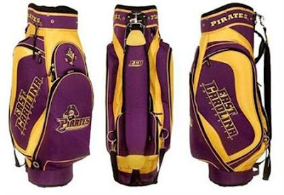 East Carolina University (ECU) Pirates golf bag colored gold and purple.