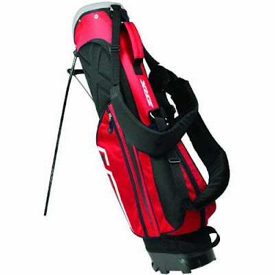 Cornell University Big Red colored golf bag that is red, white, and black.