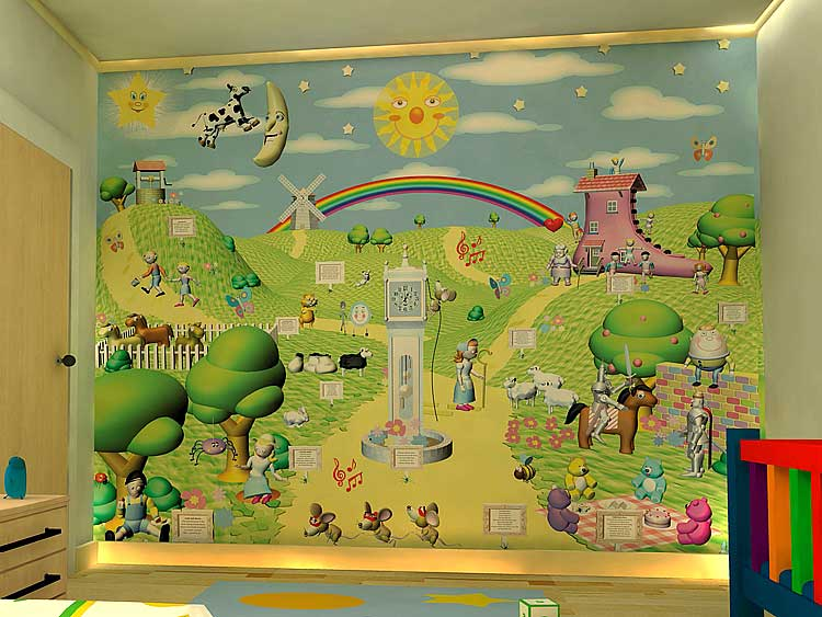 Wallpaper mural. You can turn one wall into a play area for your child as