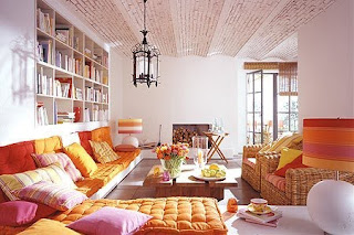 moroccan inspired living room interior design vibrant orange tones