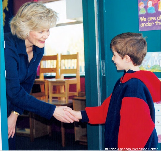 The daily greeting a respectful routine for your montessori namc montessori classroom routine daily greeting shaking hands m4hsunfo