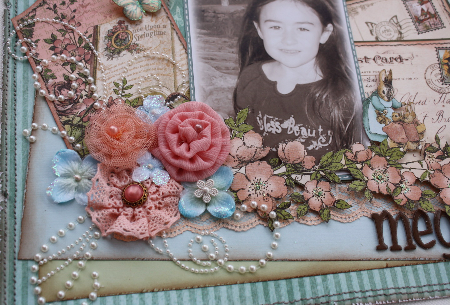 How to make a romantic scrapbook -  Found In The Kit And Did A Little Fussy Cutting Of One Of The Floral Papers To Make The Floral Design Here Are A Couple Of Close Up Pic S Of The Page