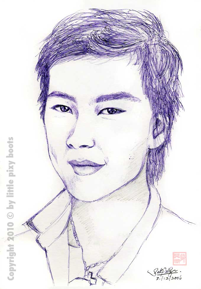 Little Pixy Boots' Blog: Today's Sketch - NAT HO's Portrait