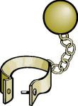 A golden ball and chain - public domain.