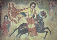 Who is she that looketh forth as the morning, fair as the moon, clear as the sun, and terrible as an army with banners?  - The Queen of Sheba riding to meet Solomon, from a fresco in Gondar, Ethiopia - public domain, via Wikimedia Commons.