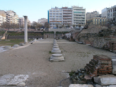 An agora in ruins. - East stoa of the ancient agora in Thessaloniki, seen from the South. 2nd c. AD., by Marsyas at Wikimedia Commons - released under Creative Commons Attribution-Share Alike 3.0 Unported License