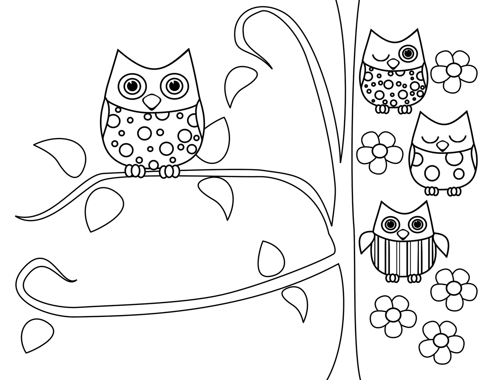 Owl Mother's Day Coloring Pages widescreen
