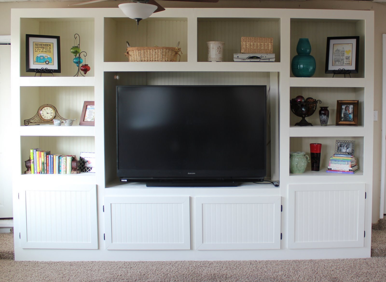 Living Room Renovation With DIY Entertainment Center For Flat Screen TV