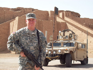 "Danny Phillips at the ""Great Ziggurat of Ur"" ruins of the ancient Sumerian City of Ur near An-Naziriya, Iraq"
