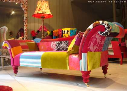 Whimsical world of laura bird patchwork furniture lisa - Tejidos para tapizar sofas ...
