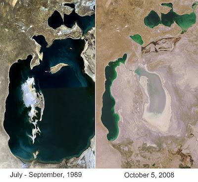 เปรียญเทียบทะเลอาัรัล อดีต และปัจจุบัน