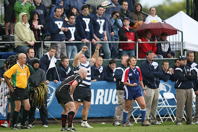 The BYU Rugby Super Fans look on as Prop Mikey Su'a throws the ball in the line-out