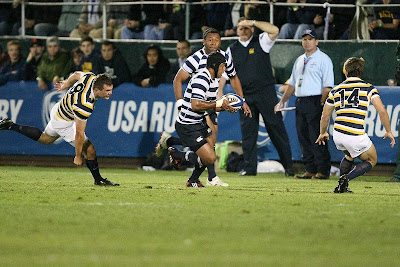 Flanker Apenisa Malani - The fake - Will he pass to Vito or not? Cal's Dustin Muhn found out too late