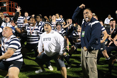 Coach Wayne Tarawhiti publicly leads the BYU Rugby team in the Haka for the first time in 3 years