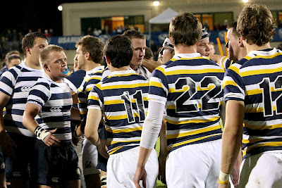 The BYU Rugby team shakes hands with the Cal Rugby team, both teams humbled by the outcome