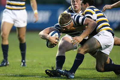 BYU Rugby Lock Kyle Sumsion breaks through for a try against Cal