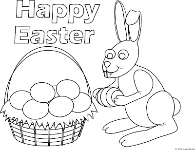 coloring pages easter eggs. easter eggs in a basket