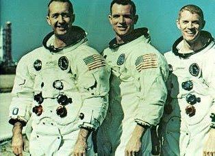Apollo 9 astronauts, James A. McDivitt, commander<br />- David R. Scott, command module pilot - Russell L. Schweickart, lunar module pilot
