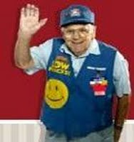 """senior walmart greeter. """"keeping my arm in                     the air makes me want to faint."""""""