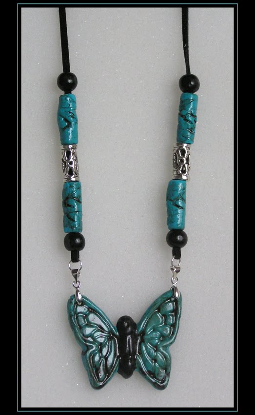 Faux Turquoise Butterfly Necklace (art.2.8)