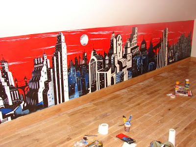Over The Past Few Days I Have Been Painting A Big Ass Gotham City Mural On  The Wall Of A Games Room In My Cousins New House. Part 41