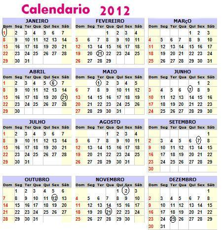 CALEND  RIO 2012   FERIADOS NACIONAIS   IMPRIMIR   2O12