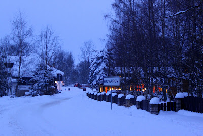 a snowy road back to the pension in Kovarov