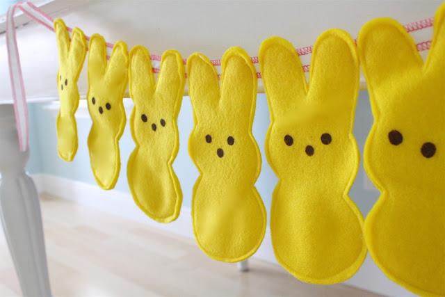 how to sew a garland of felt peeps bunnies