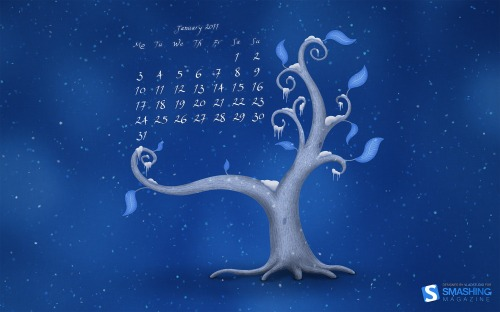 witty pc wallpaper.  Desktop Wallpaper Calendar January 2011. Winter blues
