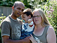 Mohammed Samad reunited with his wife and son [Credit: The Argus]