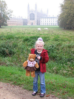 Rosie Reading Bear on holiday in Cambridge