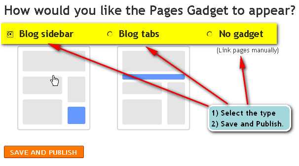 pages gadget to appear?