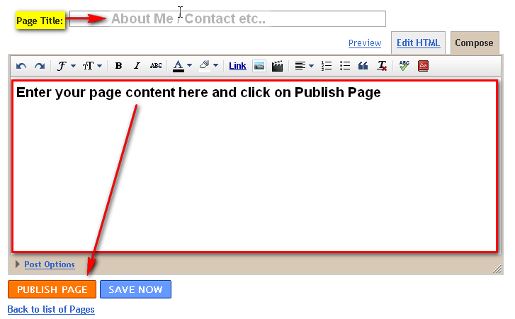 Enter page title and publish