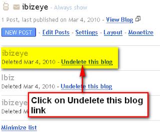 Undelete Blogger Blog