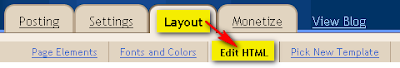 Layout Edit HTML in Blogger