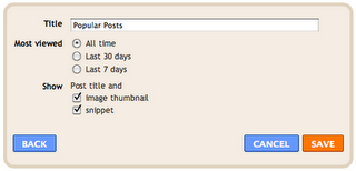 configure popular posts widget in blogger