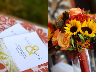 autumn color wedding flowers