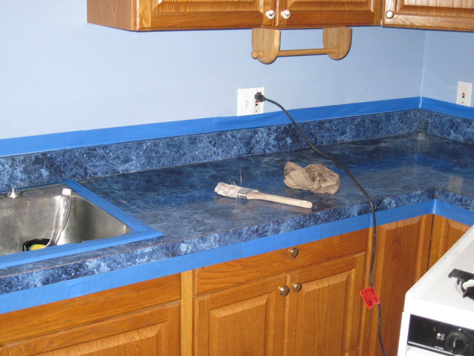 It Is A Very Strong Epoxy Paint That Works Very Well Over Top Of Laminated  Counter Tops.These Pictures Illustrate The Before!