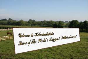 sign: welcome to Helminthdale, home of the worlds biggest whiteboard