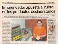 Emprendedor Graduado en la Incubadora: Salon Emprendedor Fabrica Productos Deshidratados