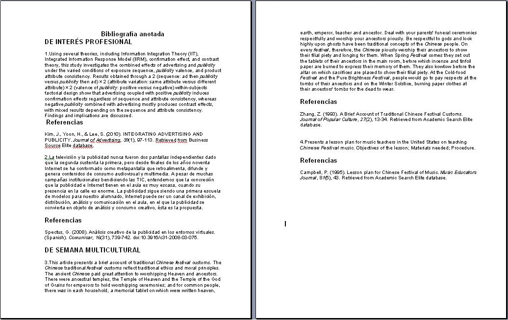 Mi portafolio de Freshman: Bibliografía anotada en formato APA