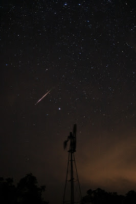 Perseid meteor. Copyright 2008 Chris W. Johnson, All Rights Reserved.