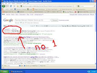 hasil dari kata kunci yang diketikkan di mesin pencari