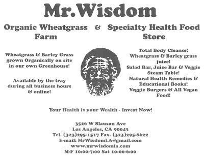 Mr Wisdom Organic Health Food Hare Krishna Los Angeles Ca