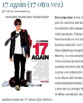17 otra vez Zac Efron