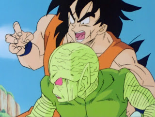 Yamcha takes on one of the Saiyan's Saibamen grunts