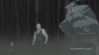 Left to right: Ed, Hohenheim, and Al in FMA: Brotherhood episode 61