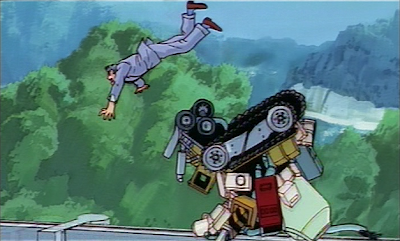 Terada falls out of the helicopter. (The Z-001 is in the background.)