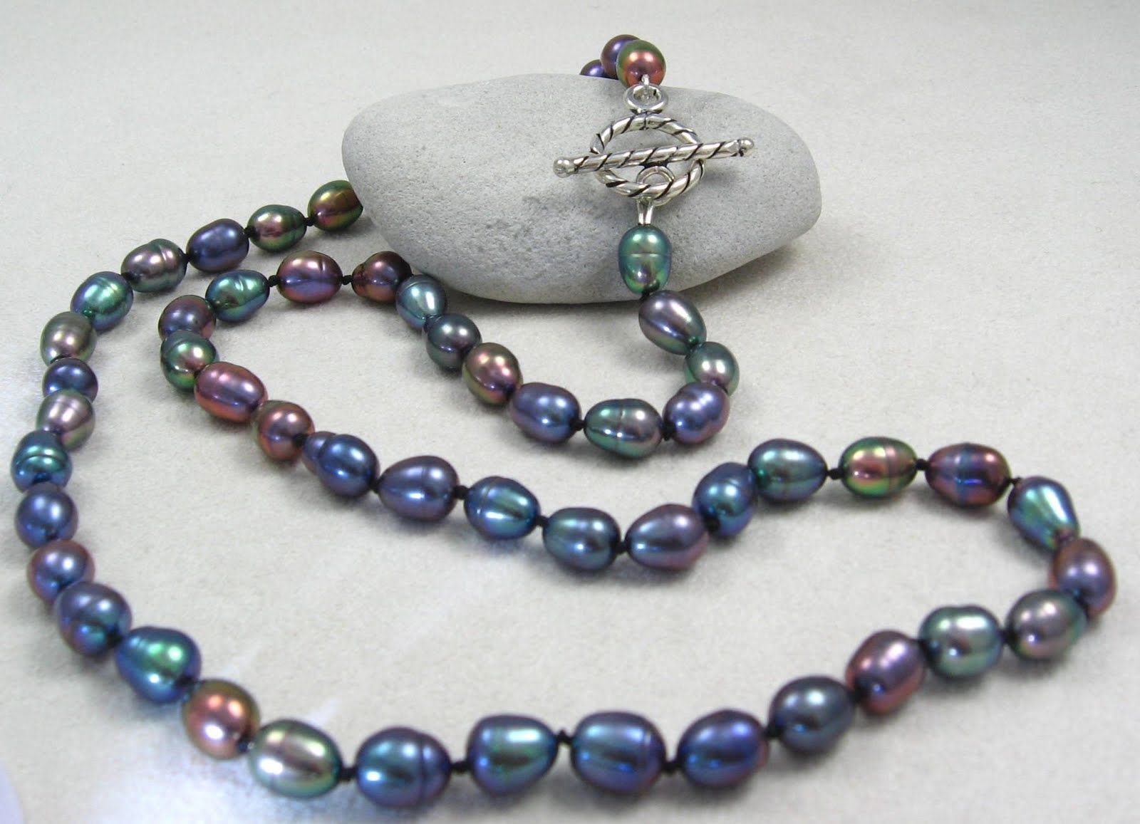 Gracie Jewellery: Hand Knotted Freshwater Peacock Pearl ...