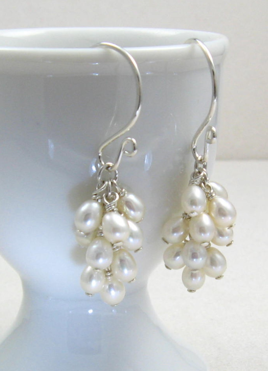 Beautiful White Smooth Luminous Pearls Hand Wred With Sterling Silver Hang In A Cer From Handmade Argentium Earwires Freshwater
